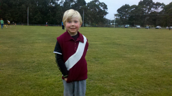 Hamish wearing my or his uncle Matt's Manly Warringah Wolves guernsey