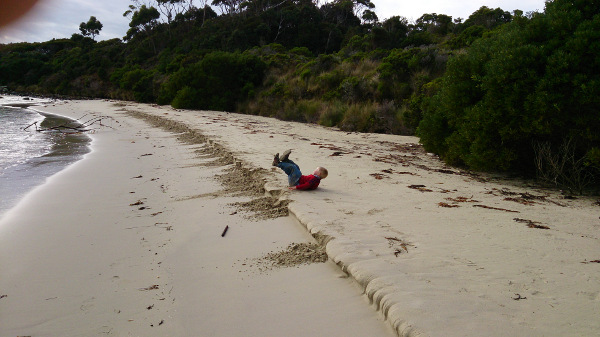Hamish had to knock down all the sand walls