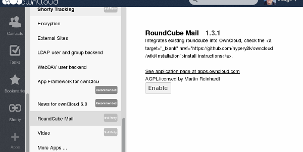 ownCloud Enable RoundCube