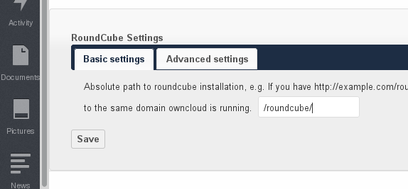 ownCloud RoundCube Settings
